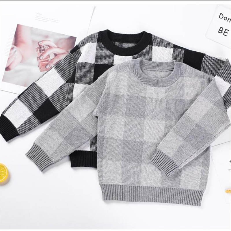 Plaid Pattern Cotton + Microfiber Soft & Comfortable Sweaters for 1-6 years kids