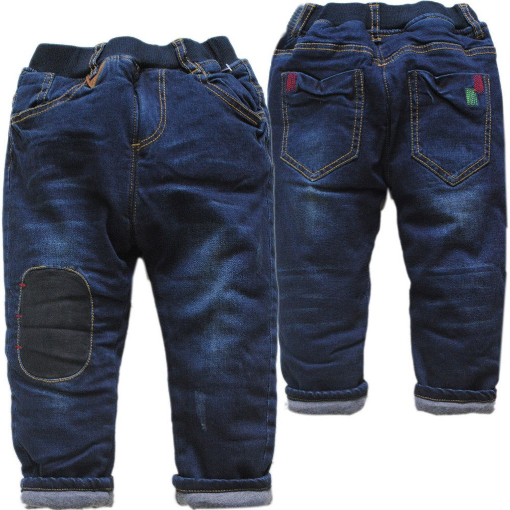 Solid Pattern Dark Blue Color & Cotton-padded Children Jeans with Elastic Waist