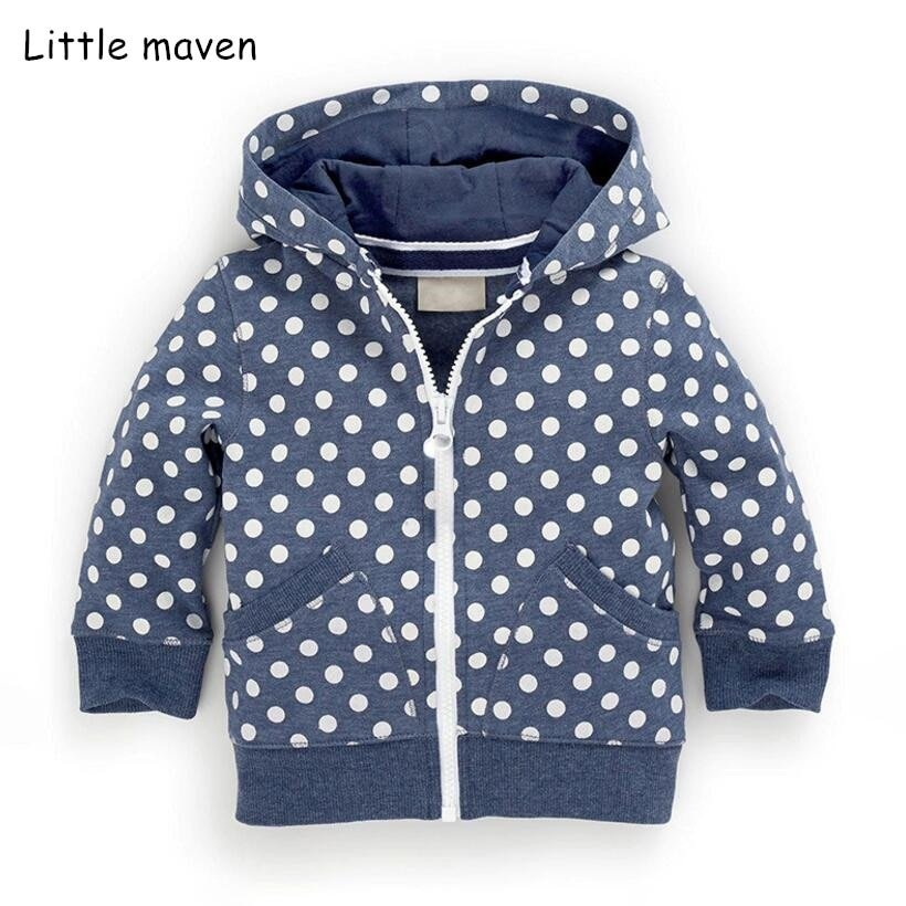 Dotted Pattern Navy Blue Cotton & Polyester Children Hoodies with zipper