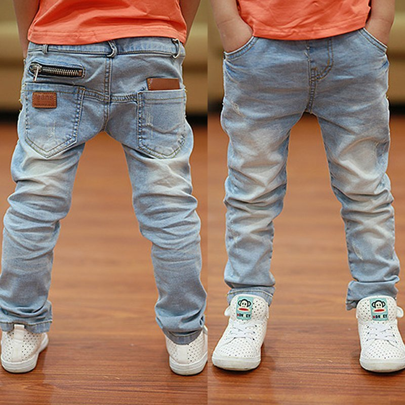 Light Blue Color Regular Fit & Solid Pattern Children Jeans for 2-14 year Boys