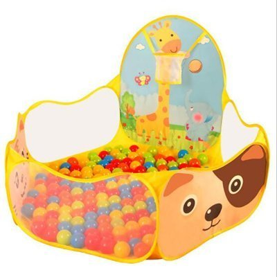 Yellow Color Soft Ocean Ball Pits House with Basketball Hoop