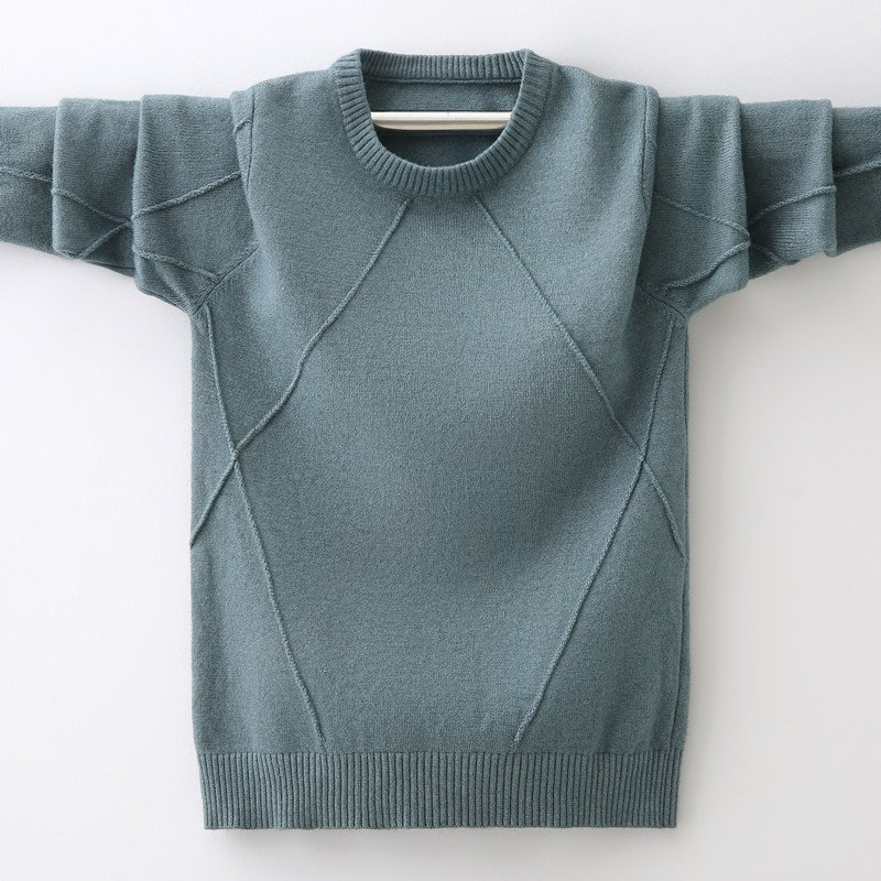 Solid Color Round Neck Cotton & Thick Warm Sweater for 3-12 Years Boys