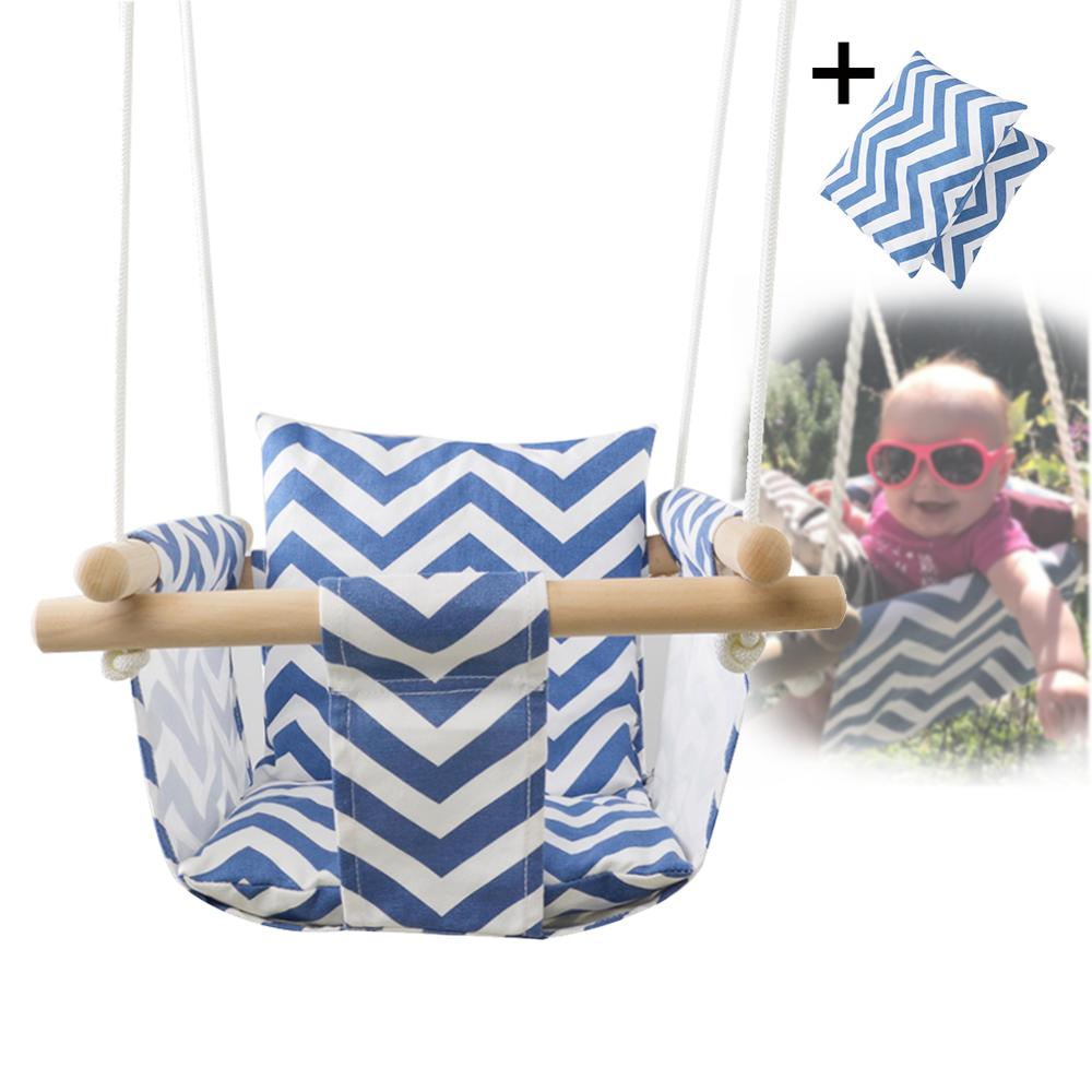 Canvas Indoor-Outdoor Swing Chair with Wooden Stick + Rope