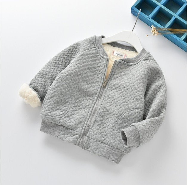 Solid Color Cotton Long Sleeve & Thick Warm Children Sweatshirts with zipper