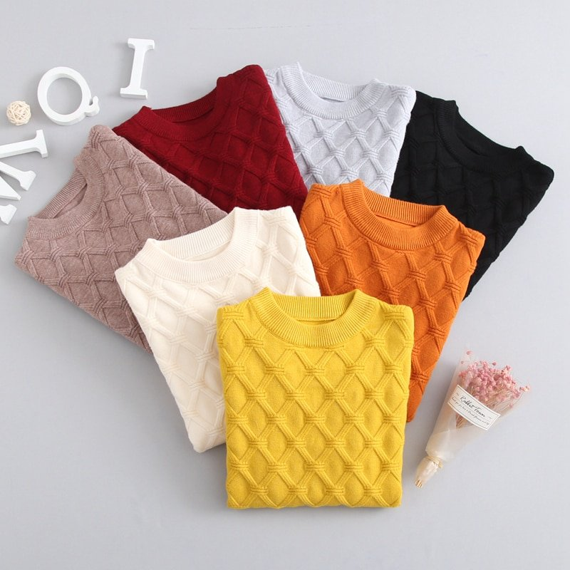 Cris-Cross Pattern Cotton + Polyester & O-Neck Children Sweaters with Solid Color