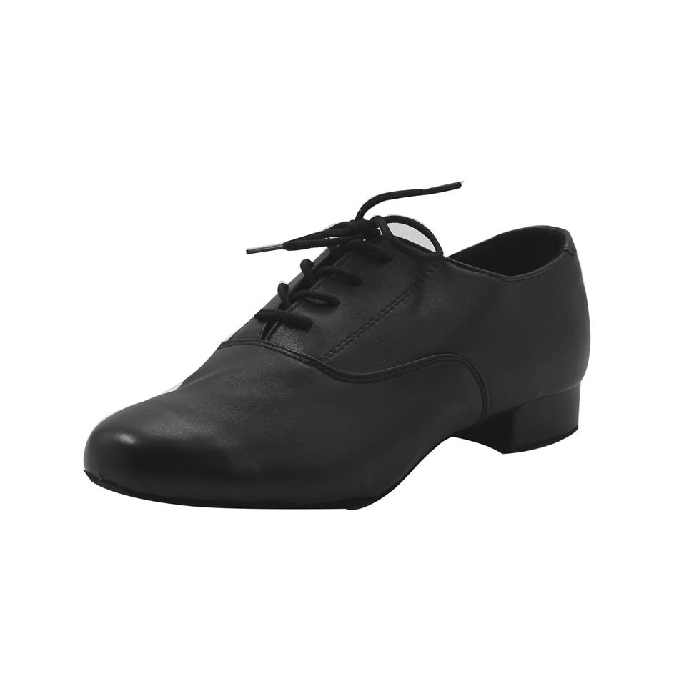 Square Med Heel Leather Pointed Toe & Black Color Shoes with Lace-up