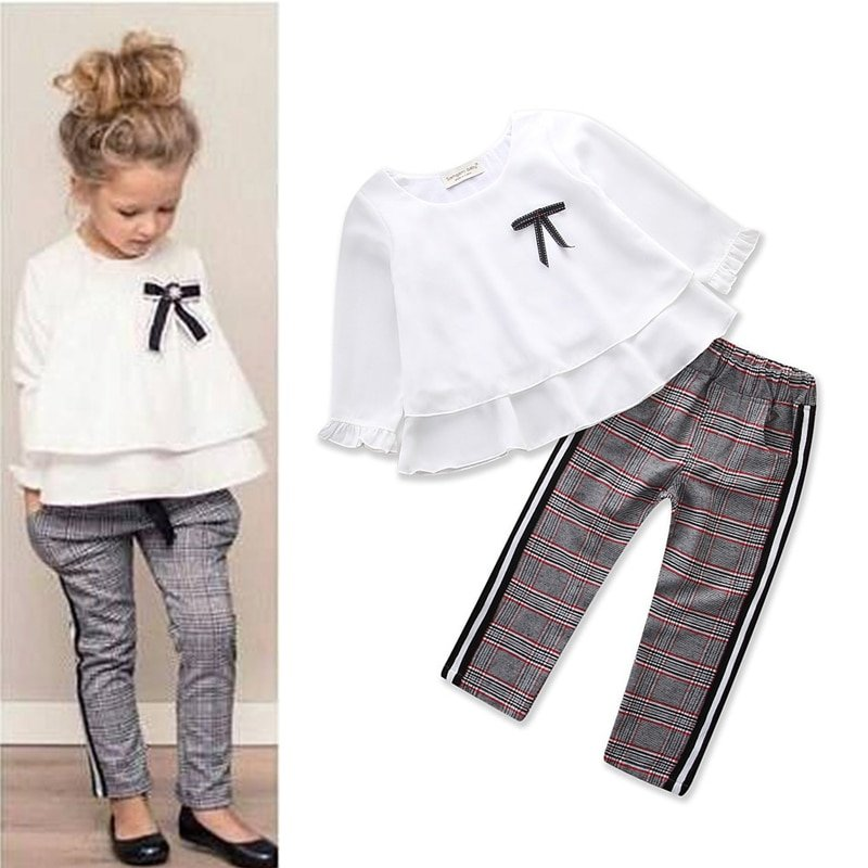 2Pcs White Color Long Sleeve Tops & Checked Pattern Pants Clothing Sets with Bowknot