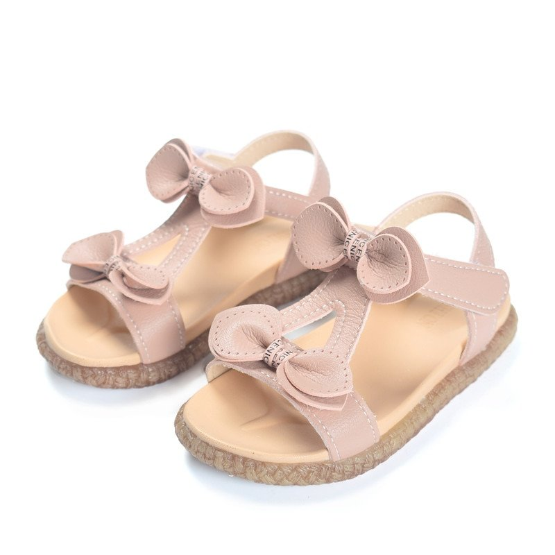 Soft Leather + PU Lining Flat Heel & Hook-Loop Sandals with Pink/White Color