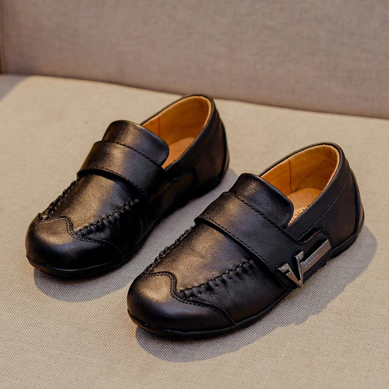 Flat Heel Grain Leather Round Toe & Breathable Shoes with Slip-on