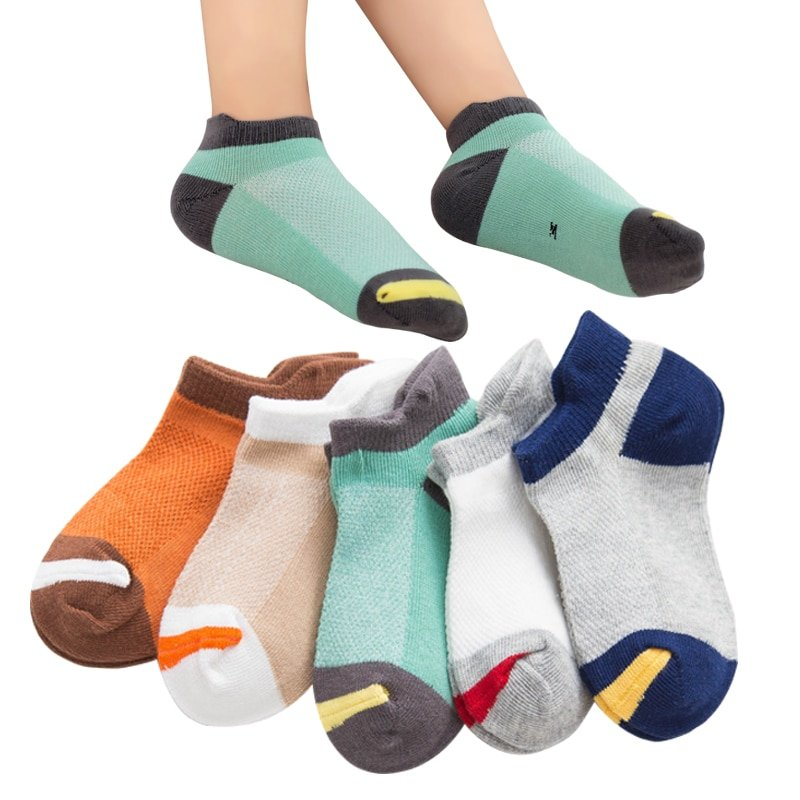 5 pairs Cotton + Polyester Stretchable & Soft Children Mesh Socks for 1-12 Years Kids