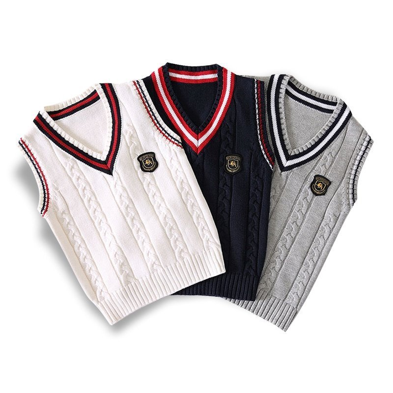 Preppy Style Cotton V-neck & Sleeveless Sweaters for 4-14 Years Boys