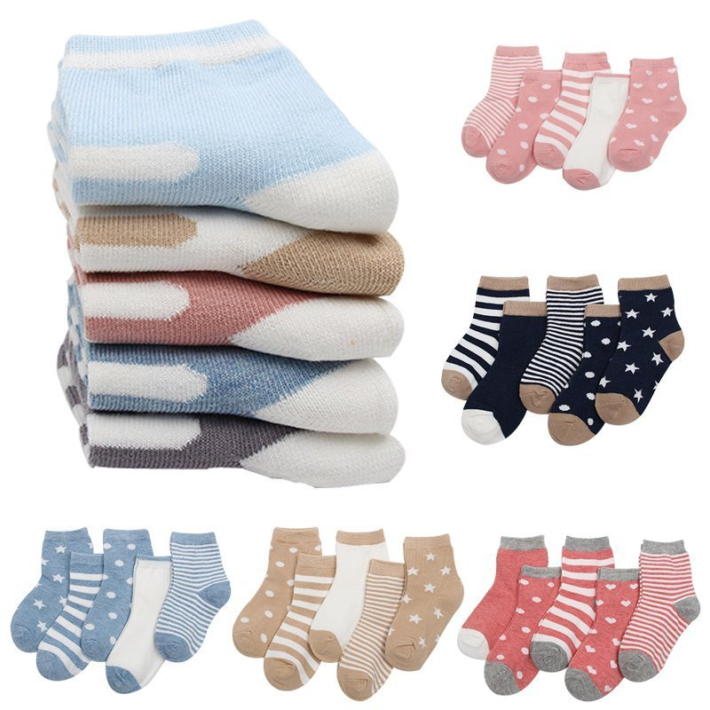 5 pairs Multi Pattern Cotton Breathable & Soft Children Ankle Above Socks