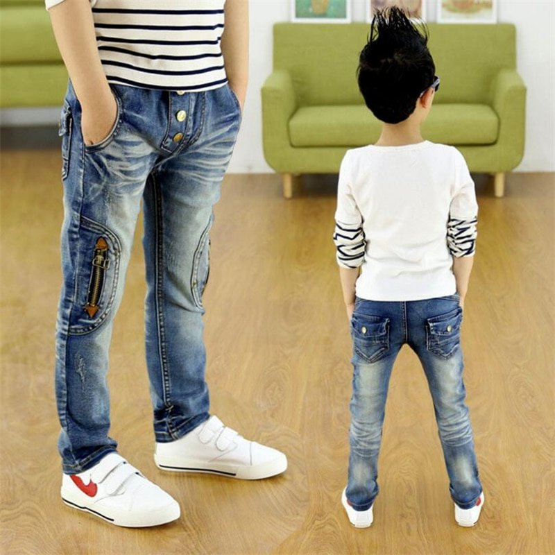 Straight Fit Mid Waist zipper & Button Design Soft Children Jeans for Boys