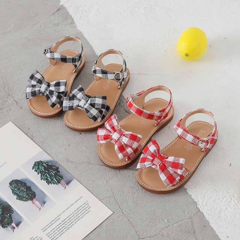 Plaid Pattern Soft Leather Buckle Strap & Bowknot Sandals with Flat Heel