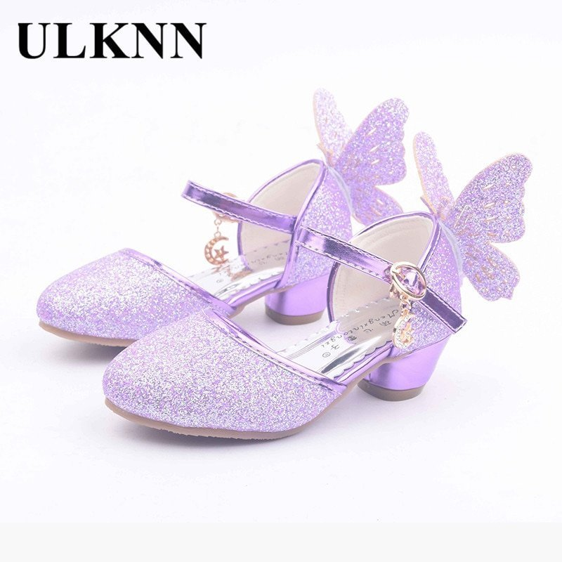 Glitters PU Leather Low Heel & Buckle Strap Sandals with Butterfly design