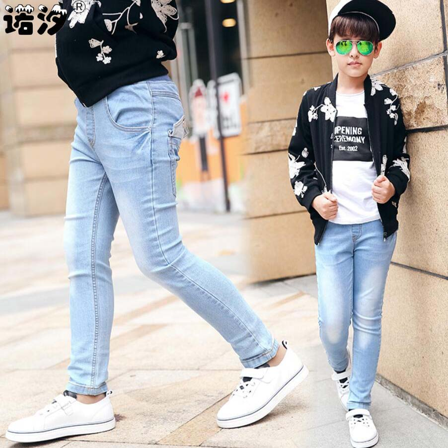 Solid Pattern Straight Fit & Cotton Children Denim Jeans with Zipper Fly