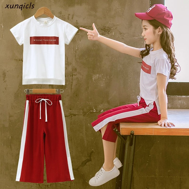 Green/Red Color Cotton O-Neck & Short Sleeve Clothing Sets T-Shirts+Pants 2Pcs