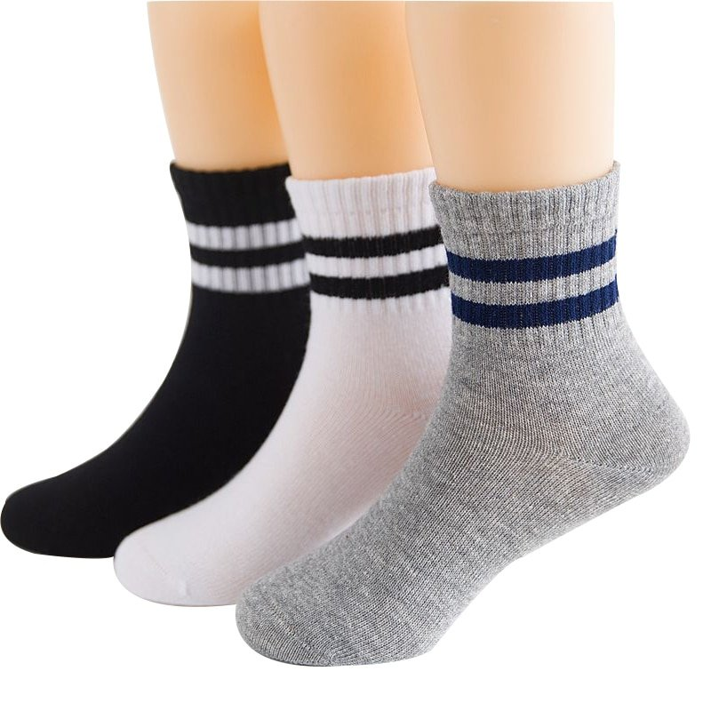 Striped Pattern 3 Pairs Cotton Soft & Comfortable Children Socks for 3-15 years Kids