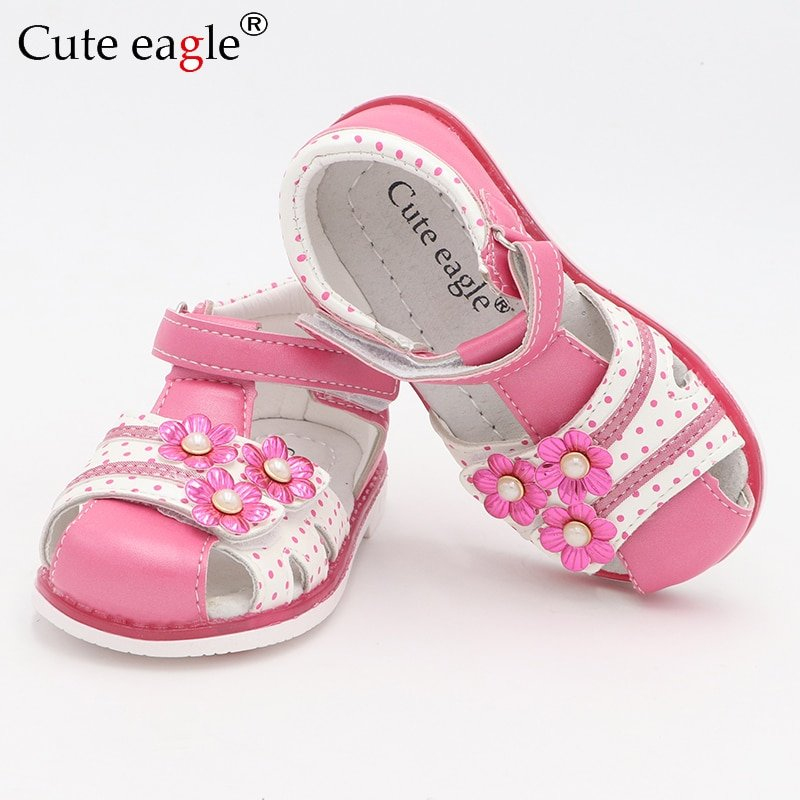 Dot Printed PU Leather Adjustable Strap & Floral decor Sandals with Hook-Loops