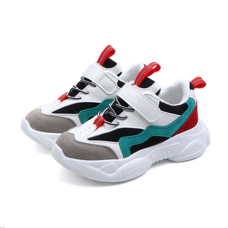 Multi-Color Rubber + Cotton Lining & Round Toe Sneakers with Hook-Loop