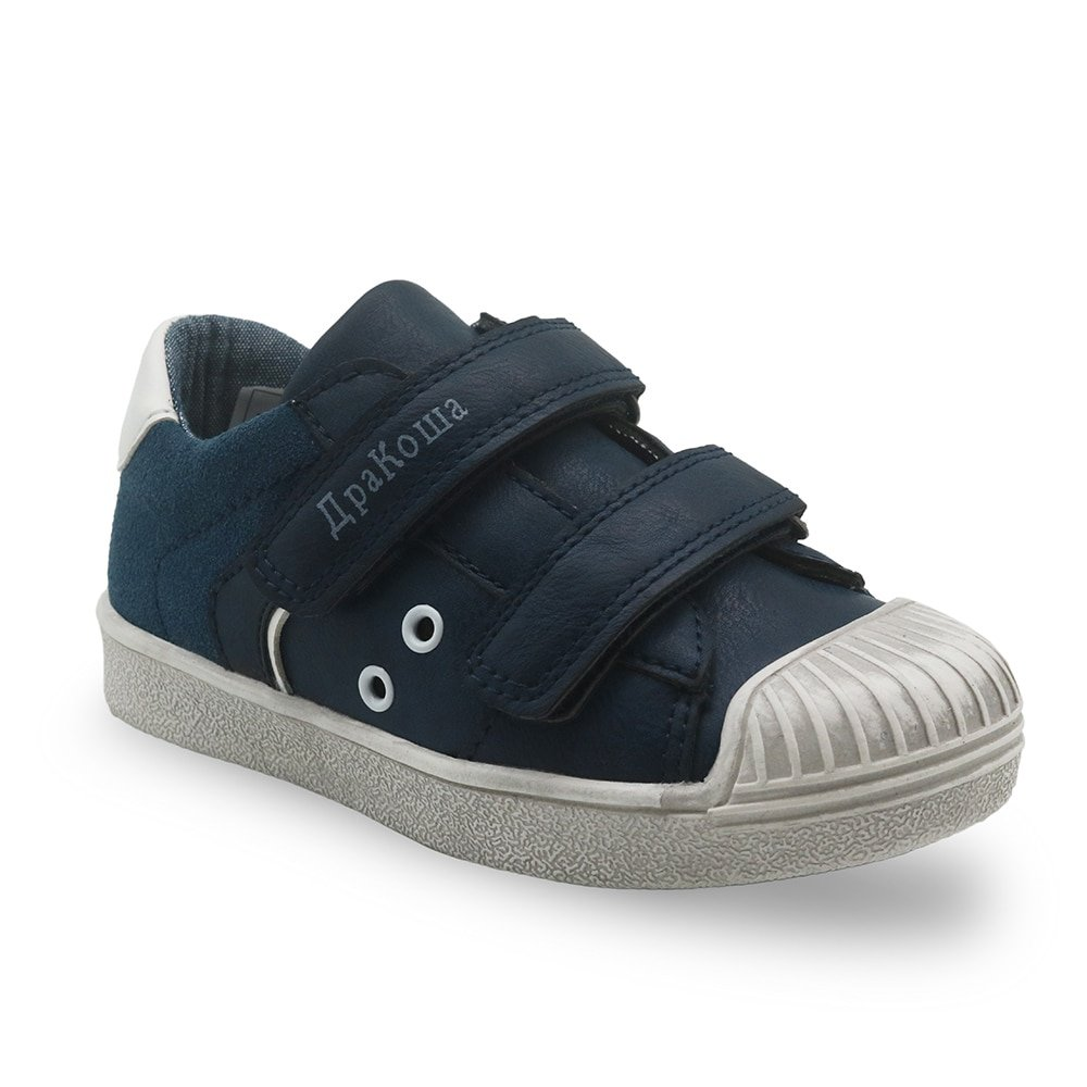 Breathable Bonded Leather + PU Lining & Flat Heel Sneakers with Hook-Loops