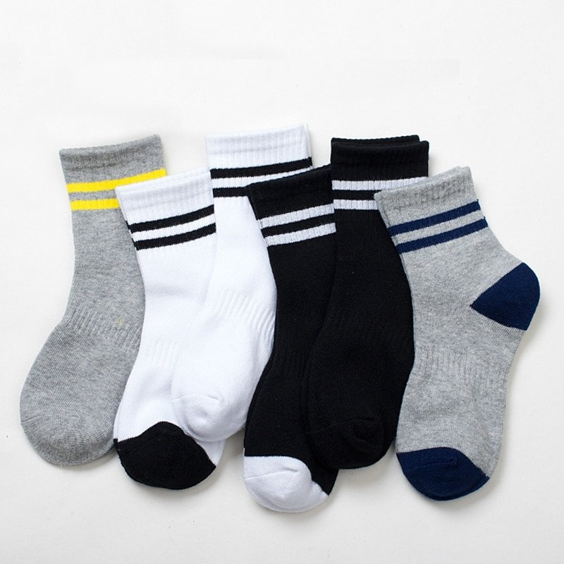 Striped Pattern 5 pairs Cotton Soft & Comfortable Children Socks