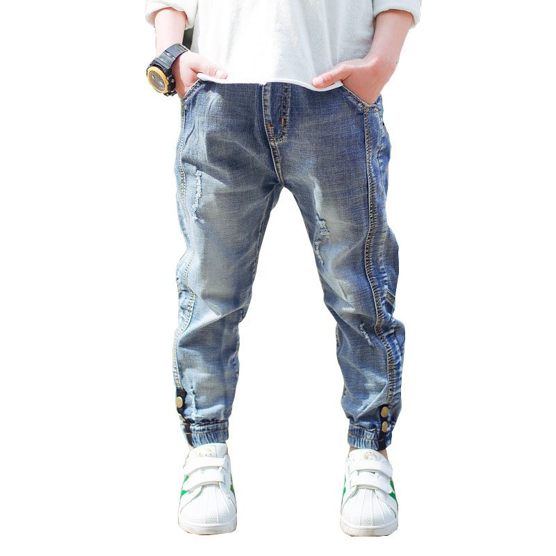 Casual Elastic Waist Soft & Comfortable Children Denim Jeans with Stretchable