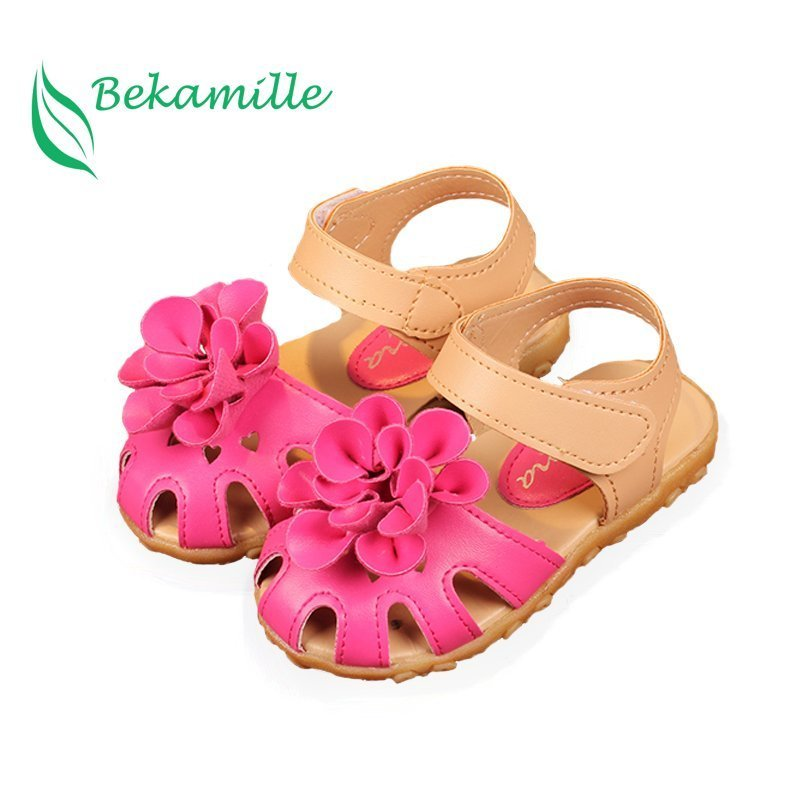 Flat Heel Soft Leather + PU Lining & Floral decor Sandals with 3 Colors