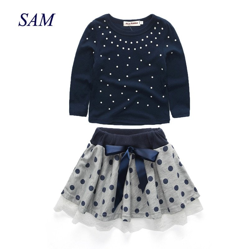 Cotton Long Sleeve Pearls T-Shirts & Dotted Skirts Clothing Sets with Bowknot