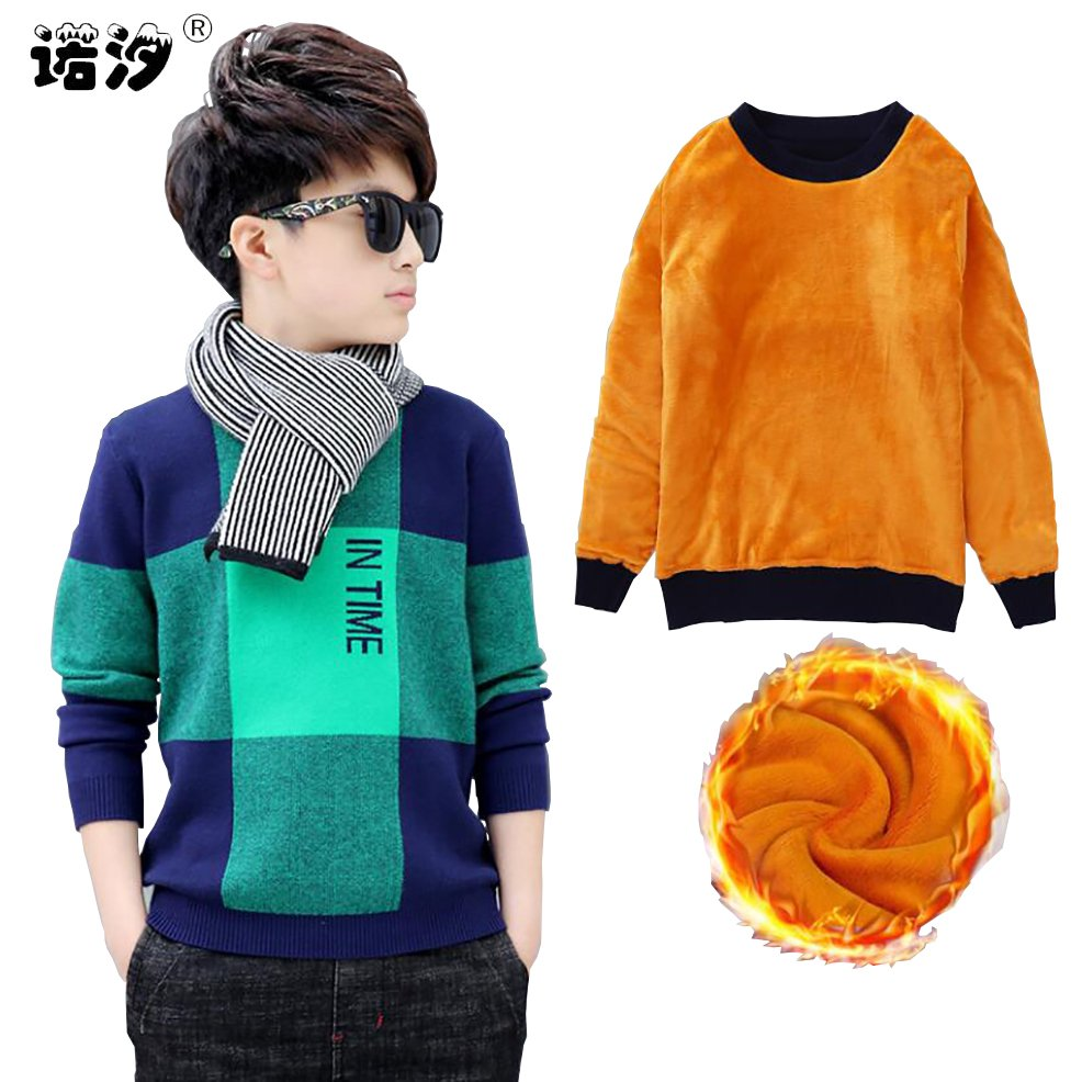 Fleece Thick Cotton + Acrylic & Long Sleeve Loose Sweaters for Boys
