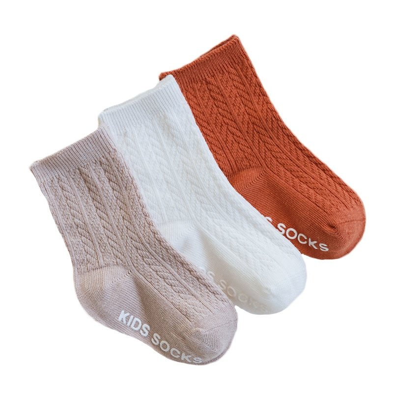 3 Pairs Solid Pattern Cotton & Soft Children's Long Socks with Anti-Slip