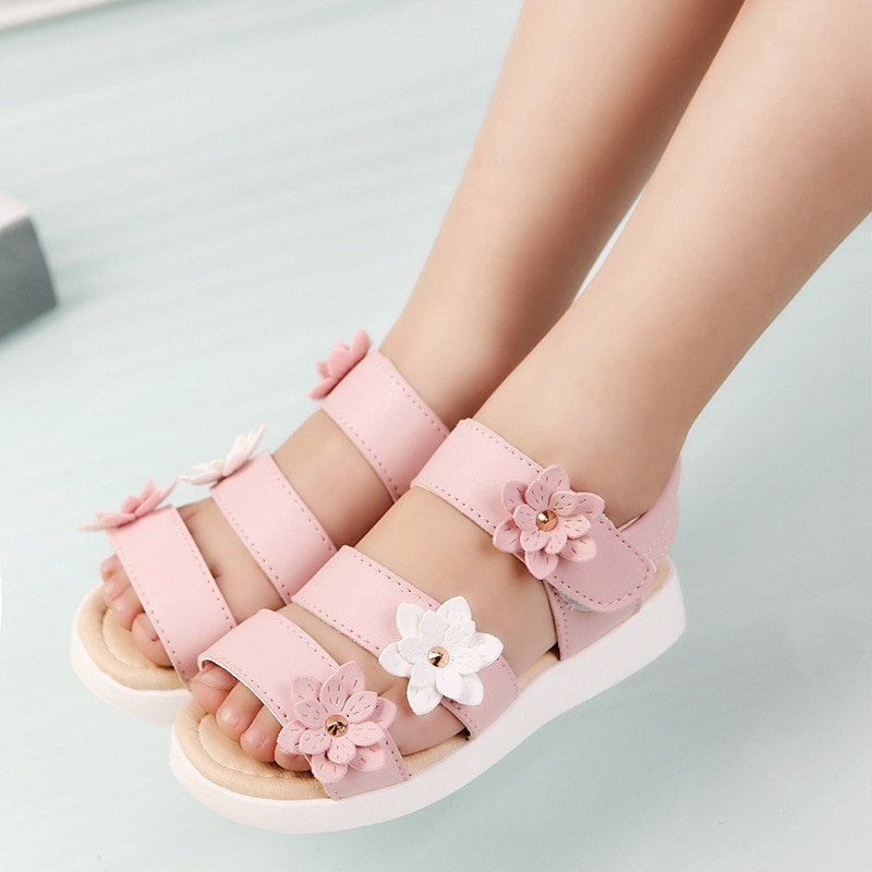 Ankle Strap Soft Leather + PU Lining & Flat Heel Sandals with Floral Design