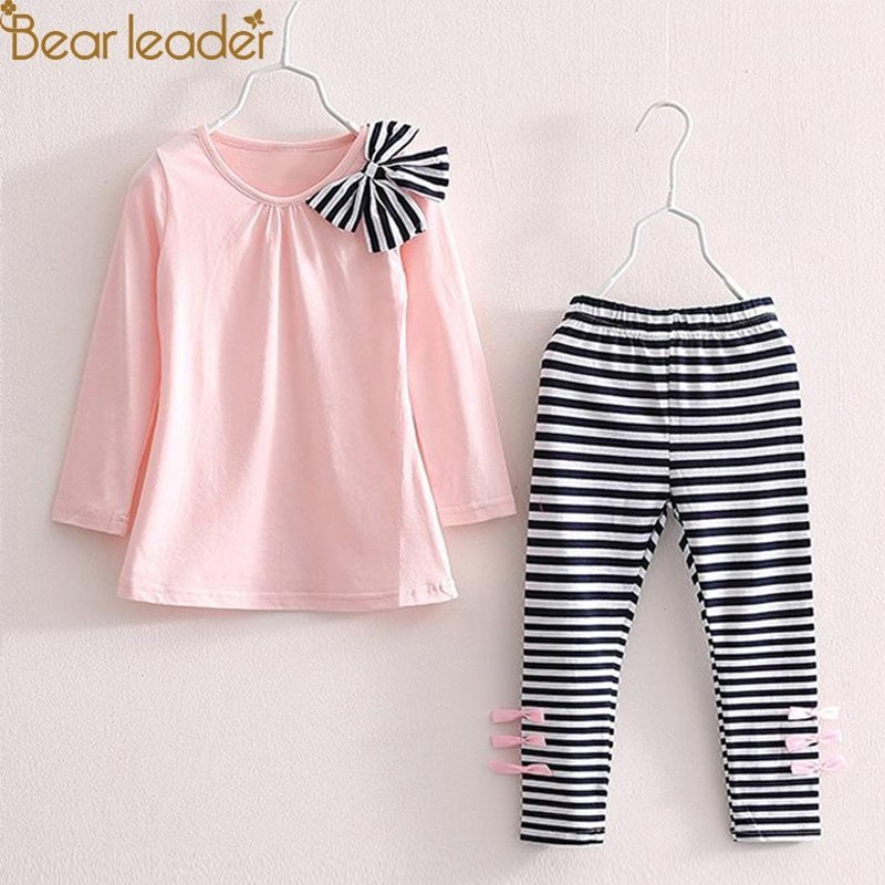 Long Sleeve Striped Bow Design T-shirt+Striped Pants Clothing Set Cotton + Polyester
