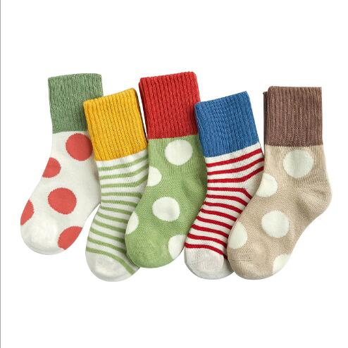 5 Pairs Multi-Color Cotton + Spandex & Breathable 1-12 Year Children's socks