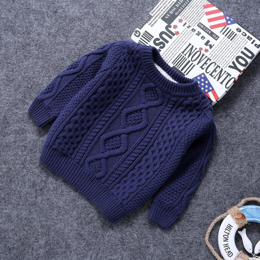 Criss-Cross Pattern Cotton + Acrylic & 1-12 Years Children Sweaters Pullover