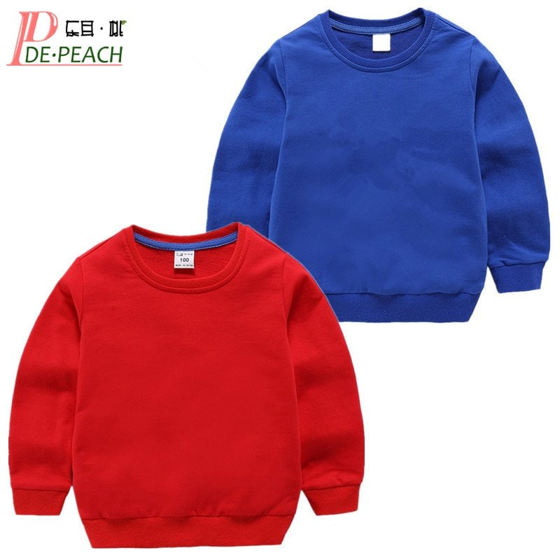 Solid Color O-Neck Cotton + Polyester & Long Sleeve Sweatshirts with Loose Fit