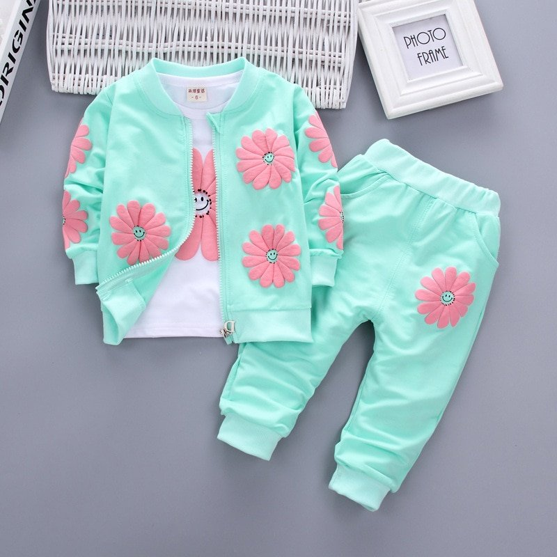 Floral Pattern Cotton + Polyester Full Sleeve & Mid Waist Clothing Sets with Multi-Colors