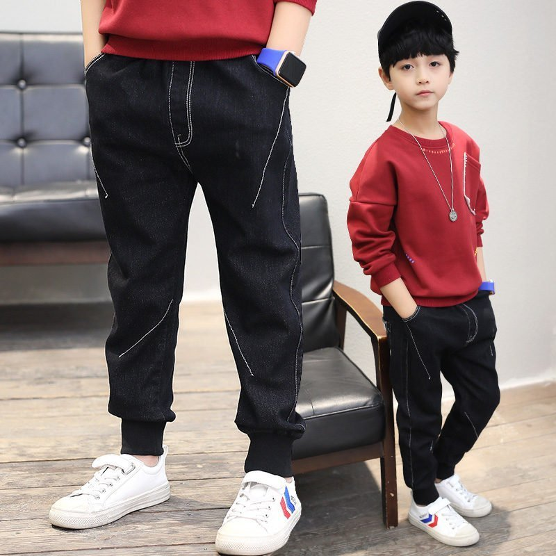 Black Color Regular Fit Mid Waist & Cotton + Polyester Denim Jeans for Children