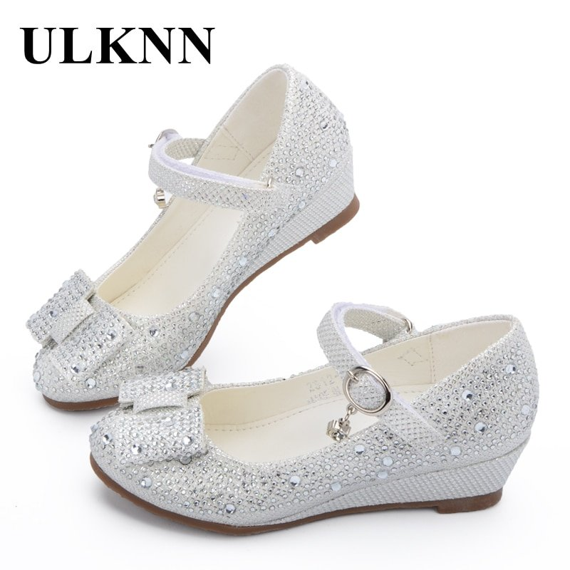 Crystal Beads Soft Leather + PU Lining & Buckle Strap Sandals with Bowknot