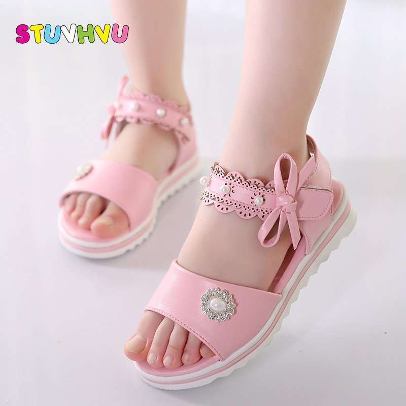 Hollow Out Nylon + PU Lining & Hook-Loop Sandals with Pearls Beads