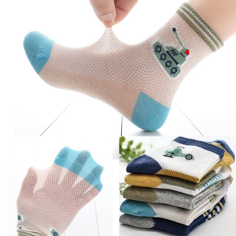 5 pairs/lot Breathable Mesh + Cotton & 3-15 Year Children Socks with 5Colors