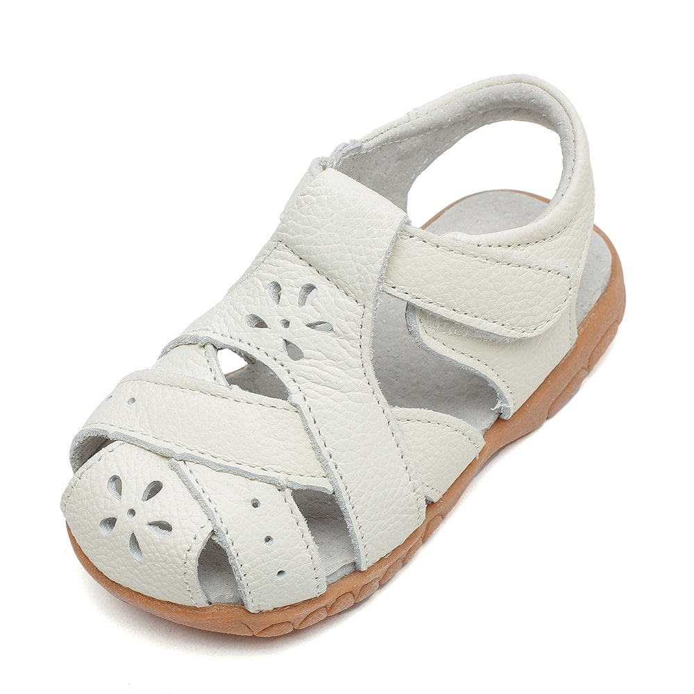 White Color Genuine Leather Hollow Out & Round Toe Sandals with Anti-Slip