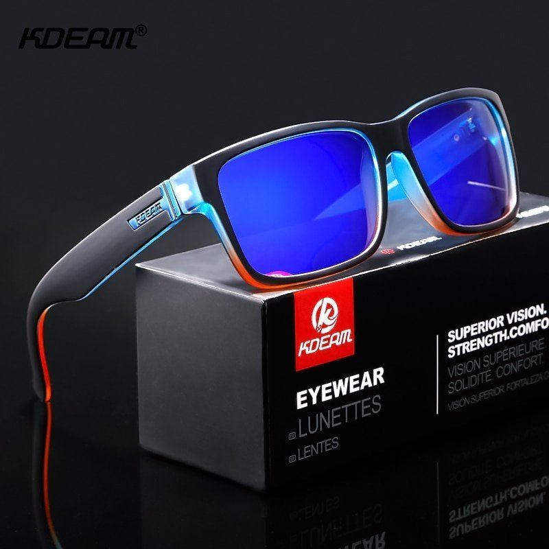 Acetate Frames & Polycarbonate Square Lens Sunglasses with Anti-Glare