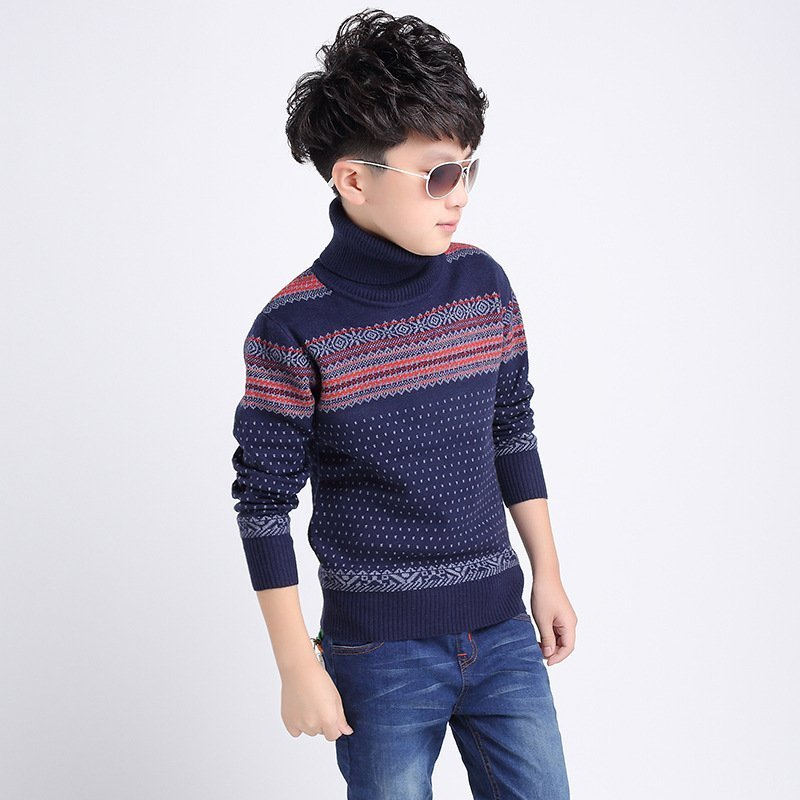Turtle collar Cashmere + Wool & Long Sleeve Sweater for Boys