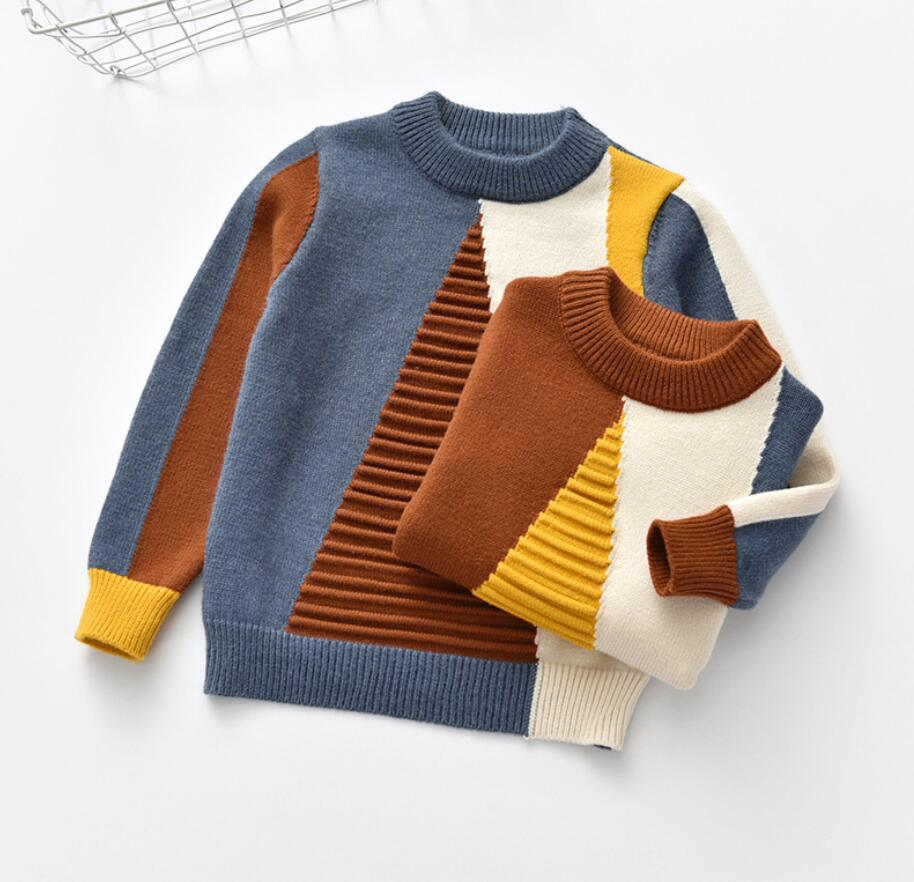 Geometric Pattern Long Sleeve Cotton & Knitted Thick Sweaters with Elasticity