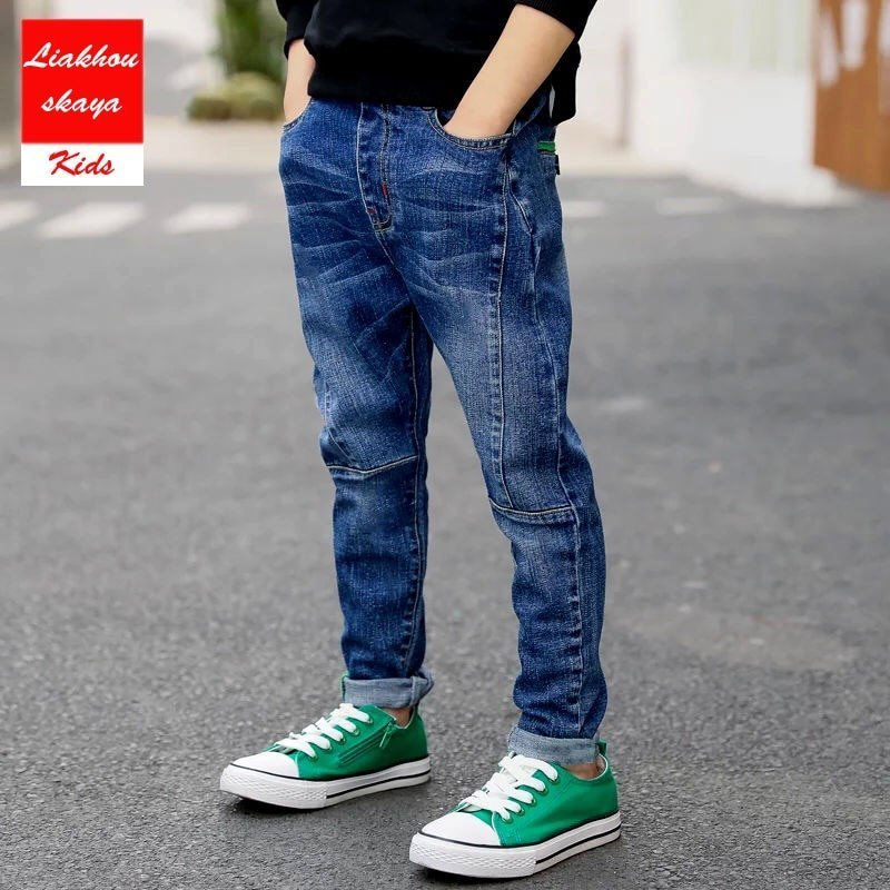 Solid Pattern Elastic Waist & Breathable Children Denim Jeans for 4-15 Year Boys