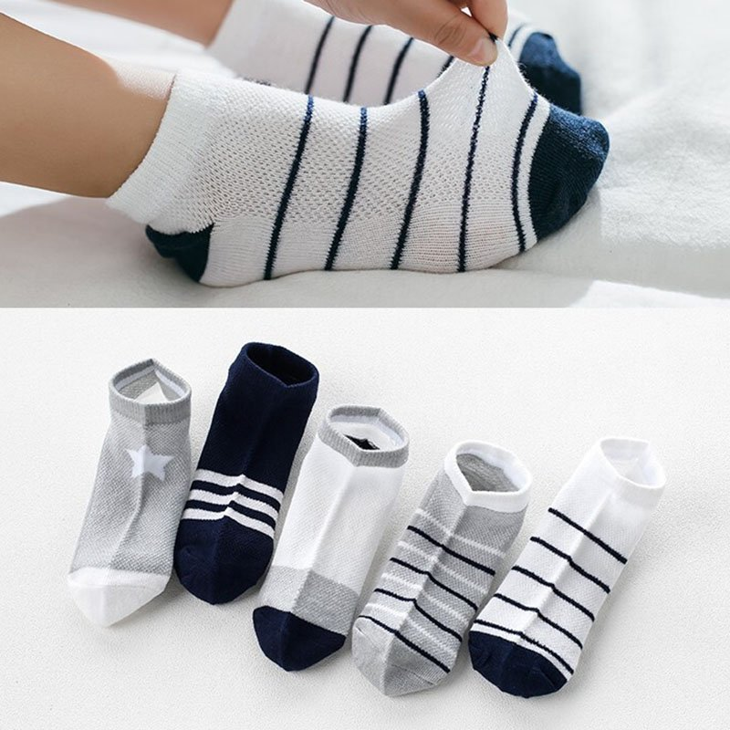5pairs Breathable Cotton Soft & Children Ankle Socks with Stretchable