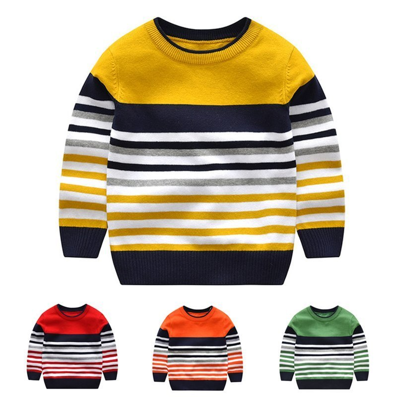 Striped Pattern Multi-Color Cotton & Full Sleeve Boy Sweaters with 4 Colors