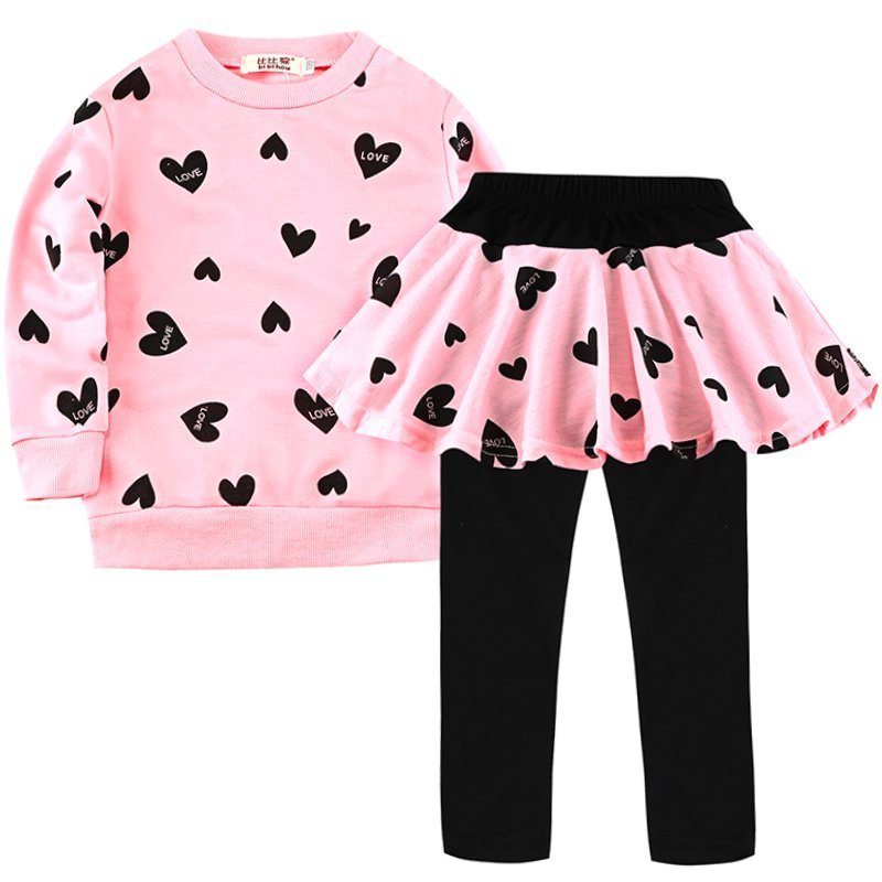 Hearts Printed Cotton + Polyester O-Neck & Pleated Clothing Sets T-Shirts+Pants