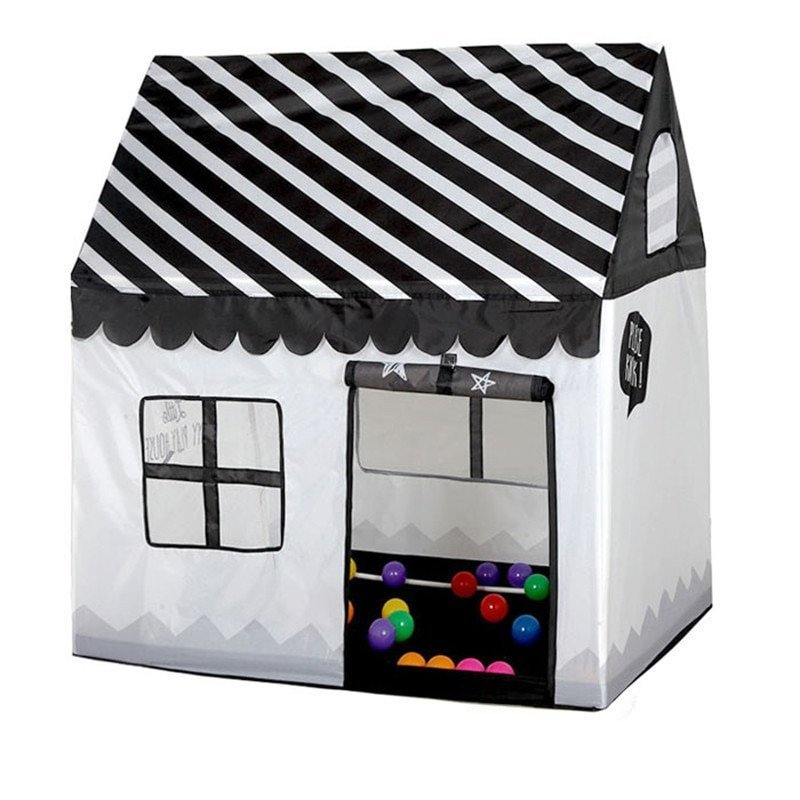 Black-White Color Polyester Foldable Simulation House Tent Toys